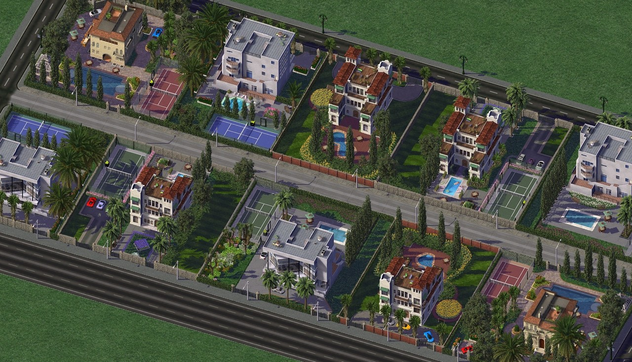 Maxis Mansion 1, 2, and 3 up close.jpg