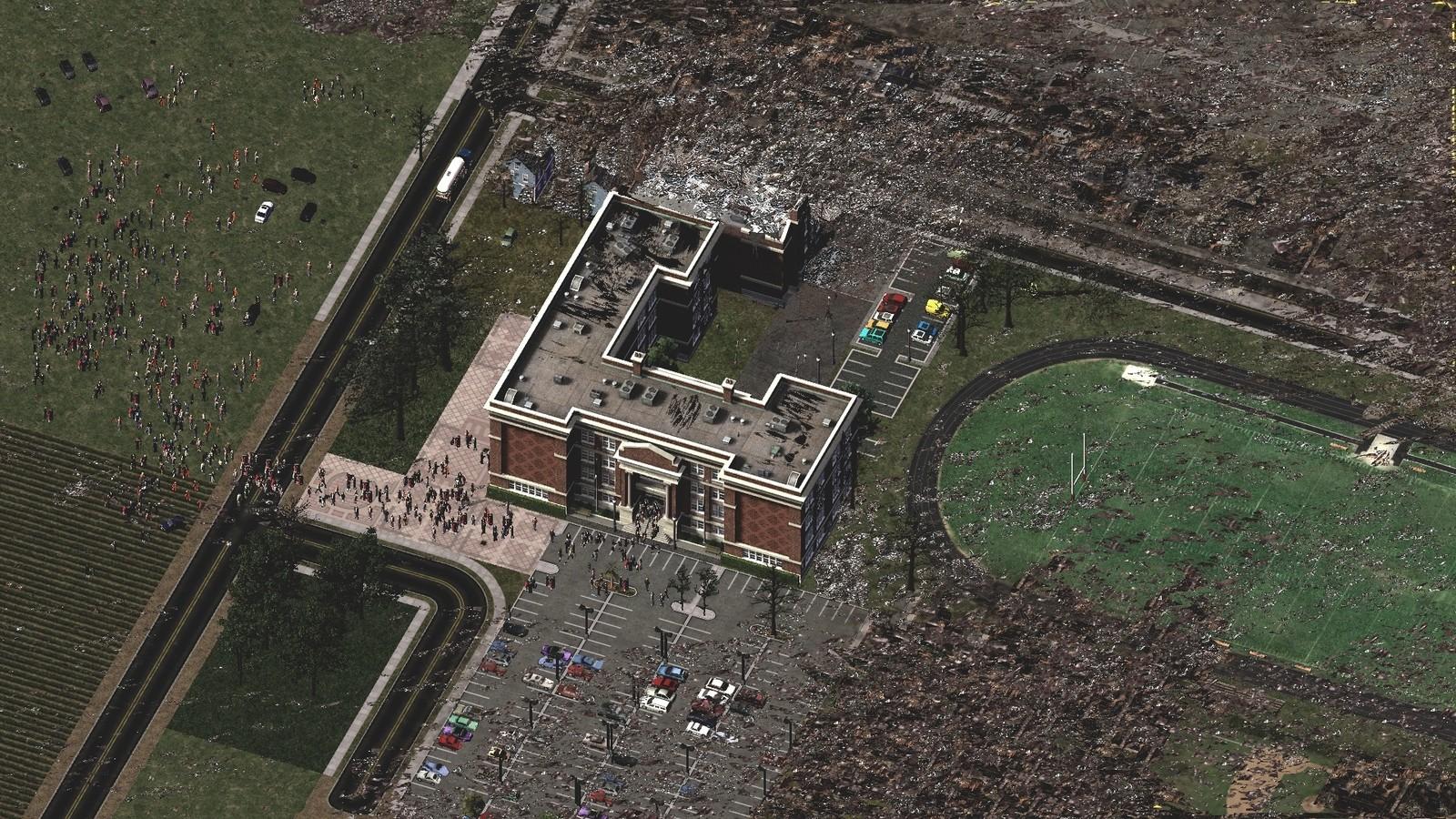 Woodland Town's High School After Tornado